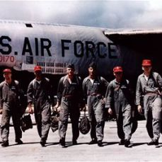 B-52 aircrew returning from an ARC LIGHT mission over Southeast Asia. Just as in earlier wars, the bombs painted on the fuselage showed the number of missions flown.