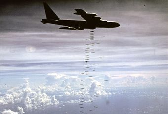U.S. Air Force B-52 heavy bombers struck communist forces in the missions named ARC LIGHT