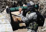 A position is set up during a paintball terror drill involving ROTC cadets from Cal State Long Beach and three other campuses in the hills of Santa Clarita.