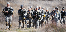 Cadets are on the march during the anti-terrorist training exercise.