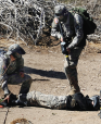 The Army tried to make the terror drill real with combat-type situations.