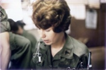 1st Lieutenant Cheri Hawes, US Army Nurse Corps, at desk for Emergency Room, 91st Evacuation Hospital, Chu Lai, Vietnam.