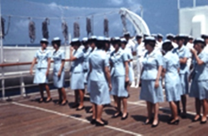 Nurse Corps formed up in ranks for an inspection