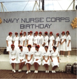 Some of the U.S.S Repose's nurses on the Navy Nurse Corps birthday.