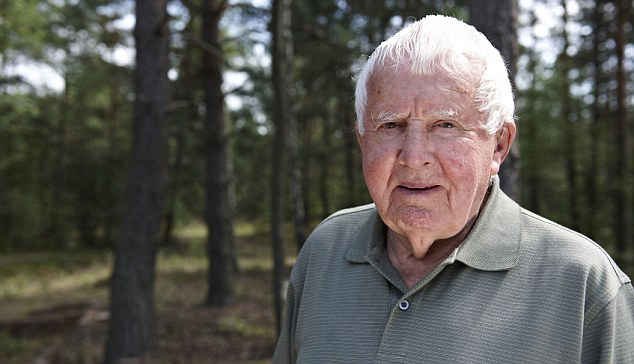 Bitter-sweet memories: Gordie King, 91, made an emotional return to Stalag Luft III.