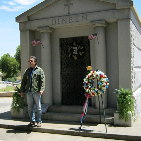 Tom Minero raised the funds and restored the crypt gives the dedication