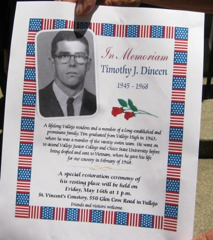 The memorial notice for Tim