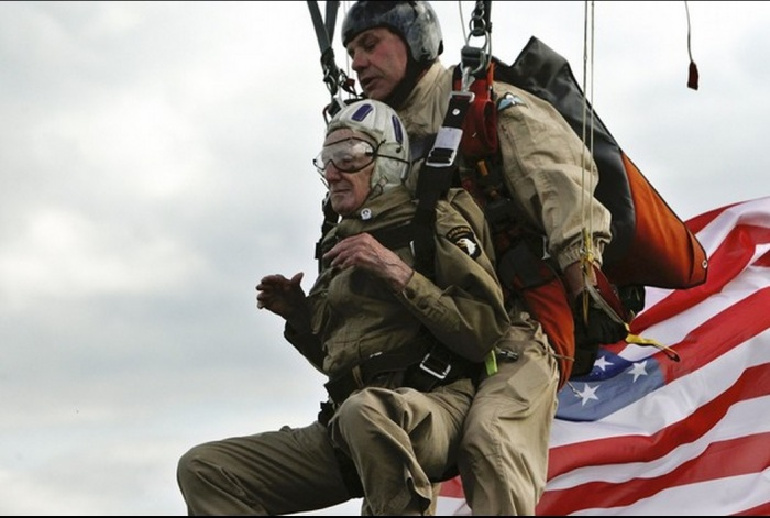 U.S World War II veteran Jim Martin, 93, of the 101st Airborne