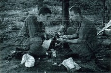 Brunty, Stokes sharing a care package of food