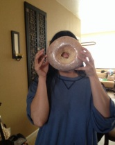 This is how big the glazed donut is.